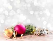 Christmas blur backgroubd with ball decoration. Stock Photos