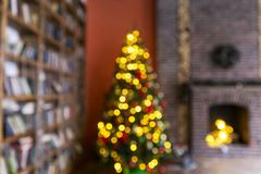 Christmas blur background with christmas tree royalty free stock photography