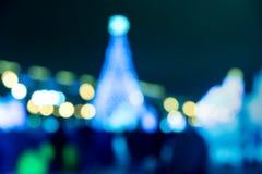 Christmas blurred city night background. Xmas bokeh Royalty Free Stock Image