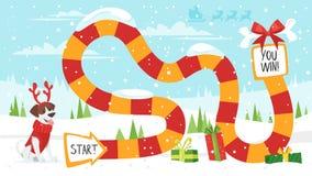 Christmas board game. Vector cartoon style illustration of kids Christmas board game with dog wearing deer horns template. For print vector illustration