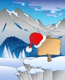 Christmas board in winter landscape Royalty Free Stock Photos