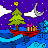 Christmas boat Royalty Free Stock Photography