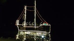 Christmas boat decorating beach stock image