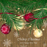 Christmas baubles on wooden texture with pine needles. Happy New Year  illustration Stock Image