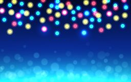 Christmas bokeh background. Color defocused lights on blue backdrop. Abstract shining circles. Unfocused soft glow royalty free illustration