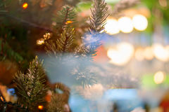 Christmas bokeh background. Christmas tree with toys Stock Photos