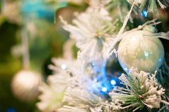 Christmas bokeh background. Christmas tree with toys Royalty Free Stock Photography