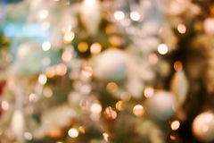 Christmas bokeh background. Christmas tree with toys Stock Image