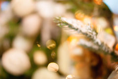 Christmas bokeh background. Christmas tree with toys Stock Photography