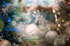 Christmas bokeh background. Christmas tree with toys Stock Photo