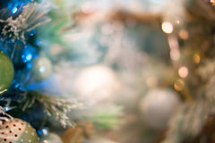 Christmas bokeh background. Christmas tree with toys Stock Images