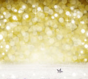 Christmas Bokeh background and white snow. Royalty Free Stock Photography
