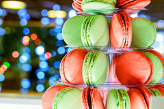 Christmas bokeh ligh colorful macarons tower Royalty Free Stock Photos