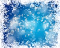 Christmas bokeh lights background with snowy border. Christmas bokeh lights background with a snowy border Stock Images
