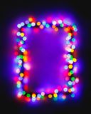 Christmas bokeh multicolor lights frame. With copy-space royalty free stock images