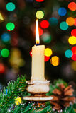 Christmas bokeh. New Year . Decorated  tree, presents, candles, gifts. Shallow depth of field. Festive . Royalty Free Stock Photos