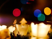 Christmas bokeh reindeer stock photo