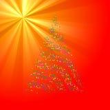 Christmas Bokeh Tree on light ray background Royalty Free Stock Photos