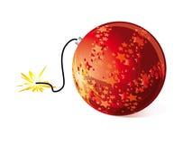 Christmas bomb. Christmas ball with detonating cord Royalty Free Stock Image
