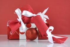 Christmas bon bon crackers with gift Stock Photography