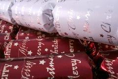 Christmas bon bons. White and burgundy xmas bon bons Stock Photo