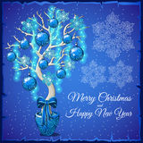 Christmas Bonsai with glass balls and snowflakes Stock Images