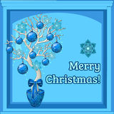 Christmas bonsai and merry Christmas wishes Stock Images