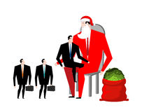 Christmas bonus. Boss Santa Claus congratulates workers. Red bag. With money. Christmas in office. New Year at work. Good Director and Managers Stock Images