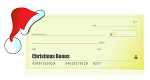 Christmas bonus check illustration Royalty Free Stock Photos