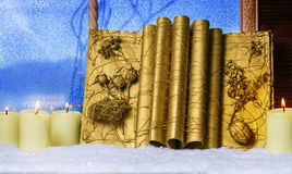 Christmas book, candles Stock Images
