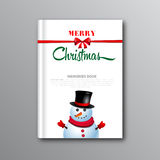 Christmas book cover or flyer template with snowman  Stock Photo