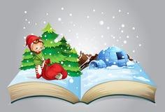 Christmas book. Illustration of a book of christmas Stock Photos