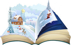 Christmas Book. Popup vector set stock illustration