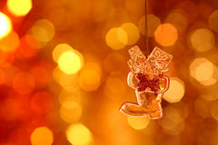 Christmas boot. On gold blur background stock images