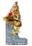 Christmas boot. With a 'Merry Christmas' sign (isolated Stock Photos