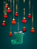 Christmas boot decoration with glitter Royalty Free Stock Photography