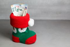 Christmas boot with euros notes Stock Photos