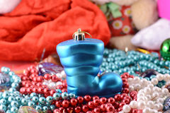 Christmas boot with gifts, new year holiday Royalty Free Stock Photography