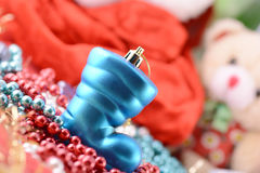 Christmas boot with gifts, new year holiday Stock Photos