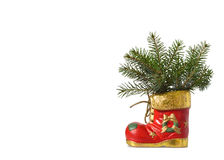 Christmas boot isolated on white Royalty Free Stock Photography
