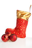 Christmas boot and red balls beside Royalty Free Stock Photography