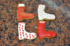 Christmas boot shaped cookies Royalty Free Stock Images