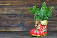 Christmas boot. On wooden background royalty free stock images