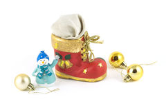 Christmas bootee with gift and snowman. Red Christmas toy bootee with gift funny snowman and cristmas balls  on white Royalty Free Stock Image