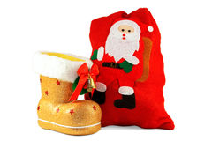 Christmas boots and bags for gifts Royalty Free Stock Image