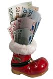 Christmas boots with euro notes. Christmas boot with various euro notes Stock Image