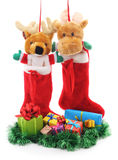 Christmas boots with gifts. Royalty Free Stock Images