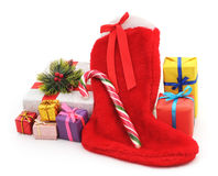 Christmas boots with gifts. Stock Images