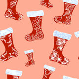 Christmas boots pattern Royalty Free Stock Image