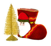Christmas boots, socks and fir-tree isolated Royalty Free Stock Images